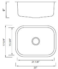 Gold Series Model Number KG2318 Sink Diagram