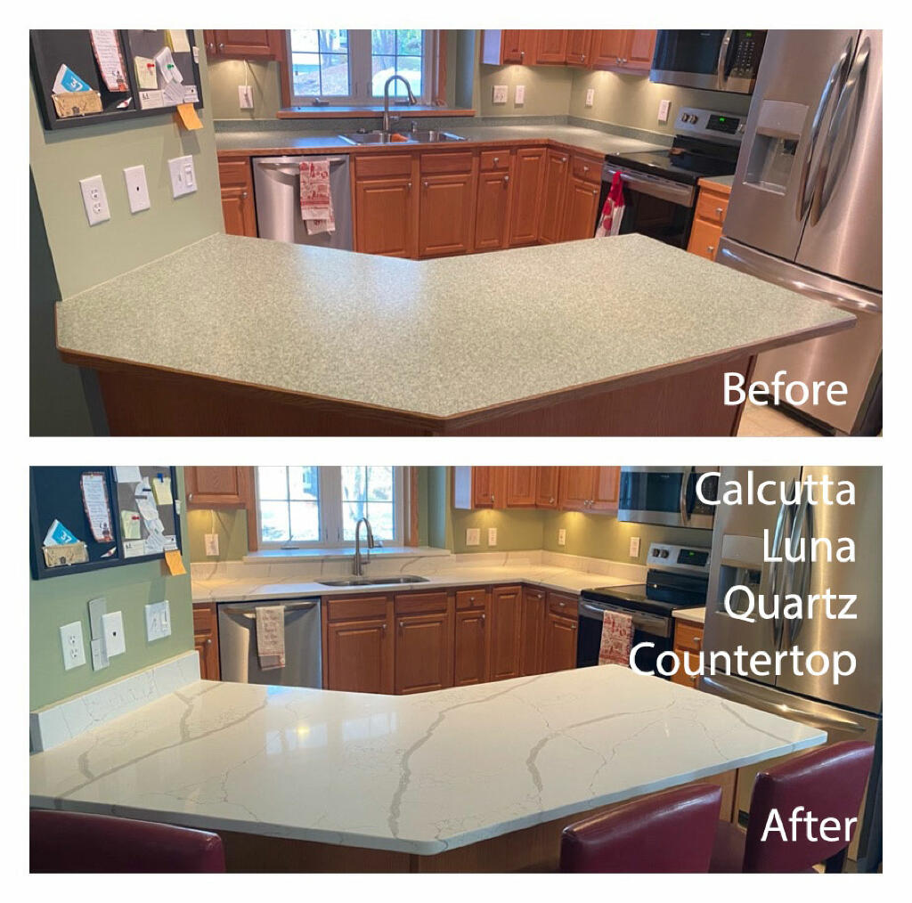 Calcutta Luna Quartz Kitchen Countertop | Twin Cities Discount Granite